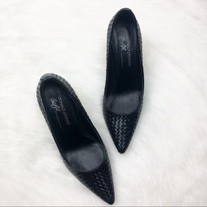 Donald J Pliner Black Braided Pumps Size 7.5